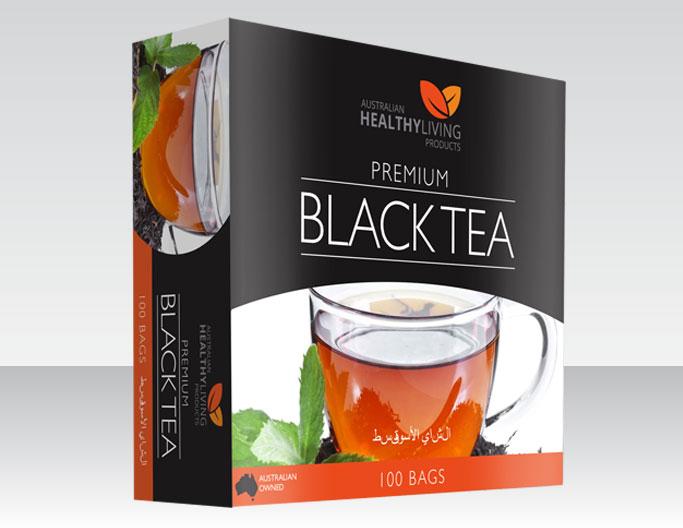 <b>AUSTRALIAN HEALTHY LIVING</b><br>PREMIUM</b><br><b>BLACK TEA</b><br>100 Bags