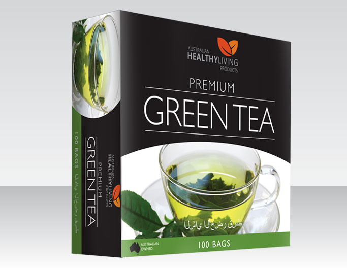 <b>AUSTRALIAN HEALTHY LIVING</b><br>PREMIUM</b><br><b>GREEN TEA</b><br>100 Bags